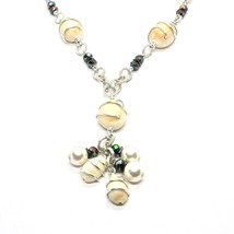 Necklace the Aluminium Long 48 Inch with Shells Hematite & White Pearls image 2