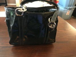 Used COACH Black Patent Leather Shoulder Bag Silver Hardware - $25.00