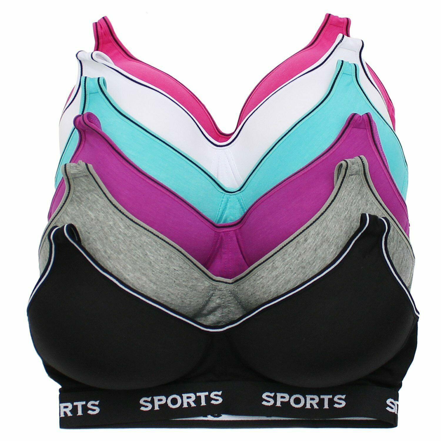 Women's Supportive Molded Cup Athleisure Sports Bra (6 piece pack)  S315