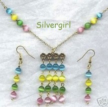 Shimmering Spring Color Cat's Eye Necklace Earring Set - $19.99