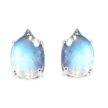 Rainbow Moonstone Oval 9X7 MM 925 Sterling Silver Tiny Stud Earring SHER... - $14.27