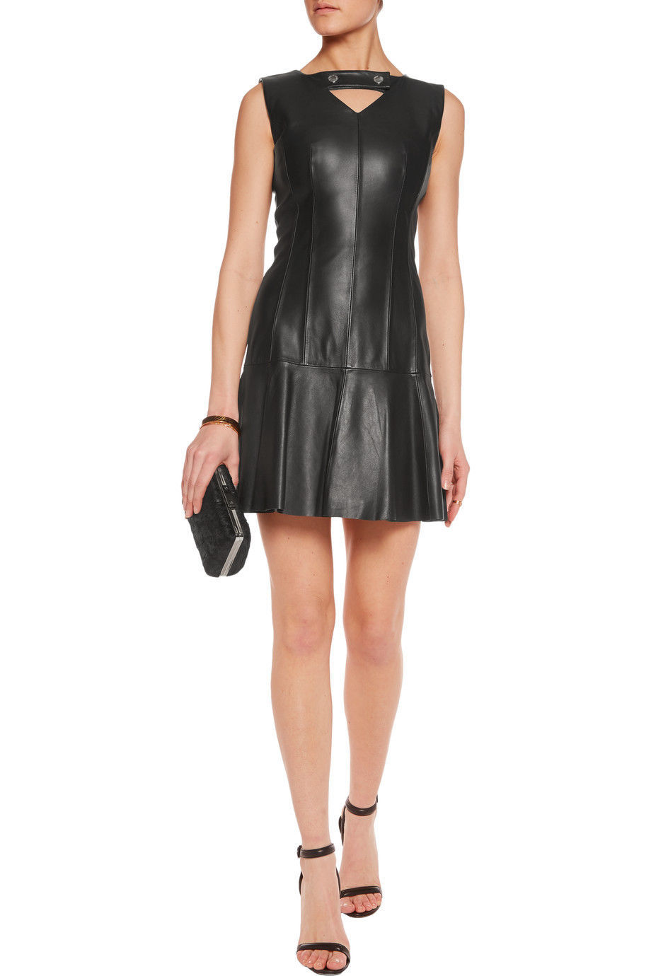 NEW SEXY MINI COCKTAIL PARTY REAL LAMBSKIN LEATHER DRESS WOMEN LEATHER DRESS 2