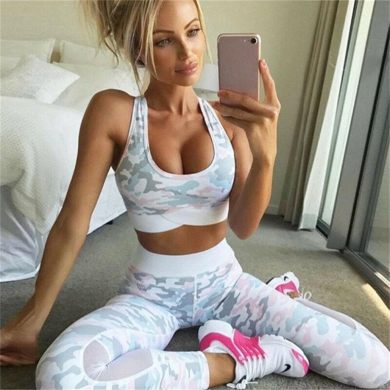 2 piece womens yoga suit femme workout sports bra and leggings set sports wear for women