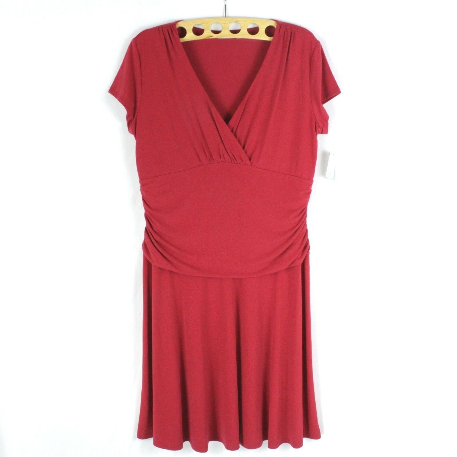Primary image for NEW Women's Stretch Cocktail Shift Dress Casual Red Vneck Size XL Ruched NWT $50