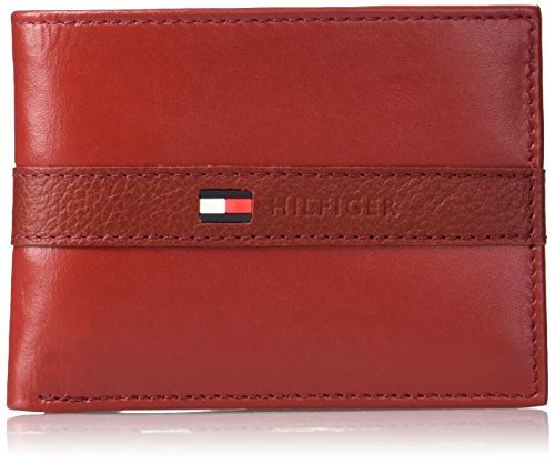 Tommy Hilfiger Men's Ranger Leather Passcase Wallet with Removable Card Case, Re