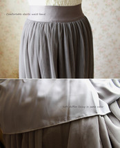 PLUS SIZE Gray Full Long Tulle Skirt Adult Gray Wedding Bridesmaid Skirt Dress image 5