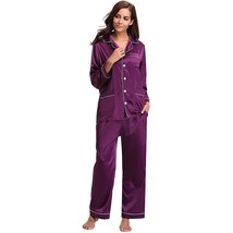 "Women""S Silk Satin Pajamas Short Sleeve Loungewear Two-Piece Sleepwear B... - $37.99"