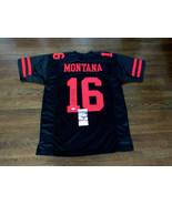 JOE MONTANA # 16 SF 49ERS SBC SIGNED AUTO QUALITY BLACK & RED 49'ERS JER... - $296.99