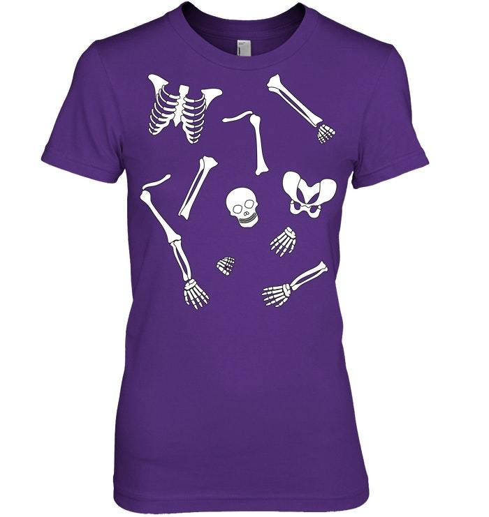 Funny Halloween Tshirt with Skeleton Parts