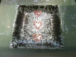 BEATRIZ CASTRO 3D KILN FORMED FUSED ART GLASS DISH COPPER HEARTS ENGLAND... - $14.24