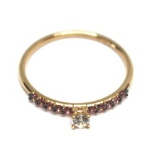 18K ROSE GOLD RING, SOLITAIRE WITH CENTRAL AND ROW PINK & WHITE CUBIC ZIRCONIA image 2