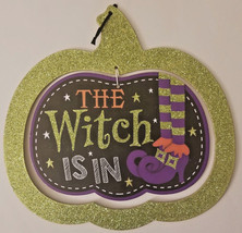 """Halloween 2 part Pumpkin Glitter """"The Witch Is In"""" Sign Spooky House 12"""" w - $5.99"""