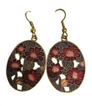 Vintage 1980's Enameled Floral Dangle Earrings Cloisonné - $12.86