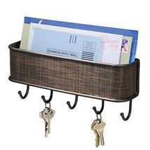 iDesign Twillo Mail and Key Holder, Decorative Wall Mounted Key Rack Organizer P image 4