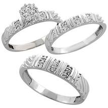 His & Hers 1/7 Ct Brilliant Cut Diamond 3 piece Trio Engagement Wedding Ring Set - $161.90
