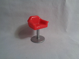 Mattel Polly Pocket Dollhouse Replacement Stool Red / Silver - $1.96