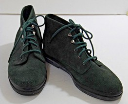Womens Sz 6 Boots Booties KEDS Green Suede Leather Lace Up - $12.90