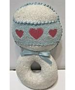 Eden Vintage Toy Plush Rattle Blue White Pink Heart - $15.35