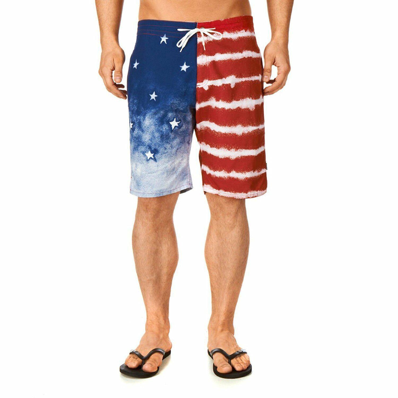 Kr3w Mens Medicate America USA Stars % Stripes Swim Surf Board-Shorts NWT