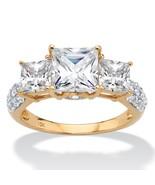 3.46 TCW Princess-Cut Cubic Zirconia 10k Yellow Gold 3-Stone Engagement ... - $269.99