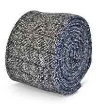 Frederick Thomas men's dark grey/gray box herringbone tweed wool tie FT3101