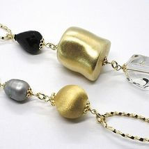 SILVER 925 NECKLACE, YELLOW, ONYX, PEARLS GREY, OVALS TWISTED, 95 CM image 3