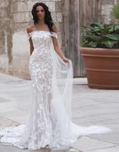Sexy Off Shoulder Embroidered Lace Mermaid Wedding Gown with Court Train image 5