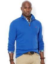New Polo Ralph Lauren Classic Blue Ribbed Knit Cotton Half Zip Sweater Size 1XB - $39.59