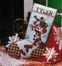 Cross Stitch Snowman Christmas Stocking Frame Piece Pillow Gift Bag Wrap... - $9.99