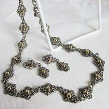 Vintage Park Lane Art Deco Revival Gold Silver Plated Choker Necklace Ea... - $31.50