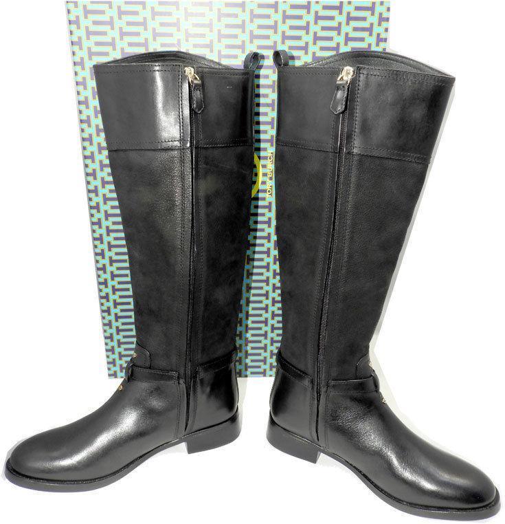 352fe26825db  495 Tory Burch Simone Riding Boots Tall Flat Equestrian Booties 7 Black  Logo