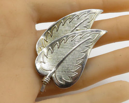 CORO 925 Sterling Silver - Vintage Large Double Leaf Detail Brooch Pin - BP1497 - $41.89