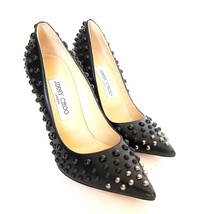 S-737438 New Jimmy Choo Black Leather Pumps Shoes Size US-7.5 Marked 37.5 - $870.99