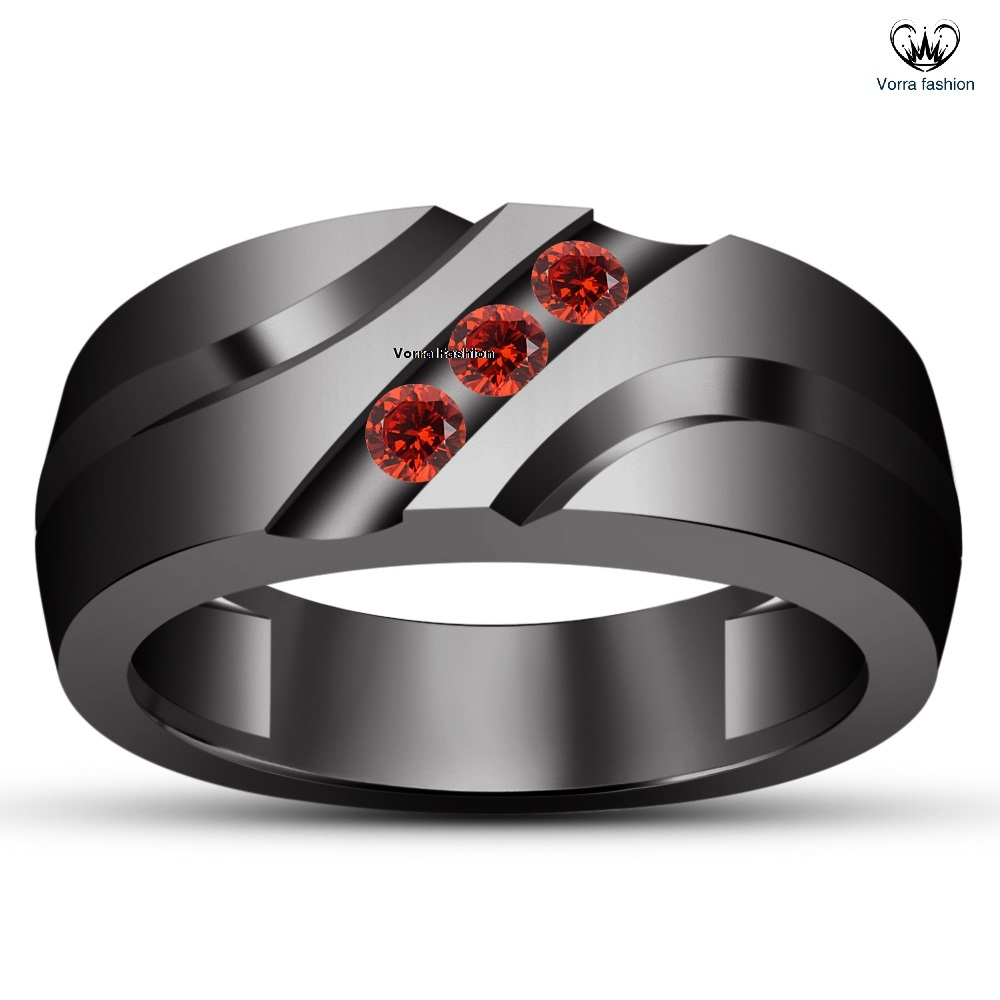 Primary image for Black Rhodium Finish 925 Silver Three Stone Men's Band Ring Round Cut Red Garnet
