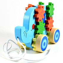 Applesauce Elephant Baby Wooden Pull Toy w Gears for Children Ages 18+ Month image 2