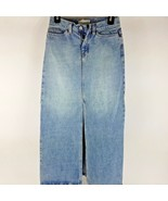 Gap Long Modest Denim Jean Skirt Medium Wash Front Split Womens Size 0 - $21.78