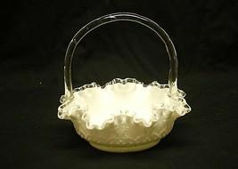 "Old Vintage Silver Crest Spanish Lace Fenton 8"" Basket Lace Design on Milk Glass - $98.99"