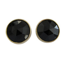 Les Bernard Large Round Gold Tone & Faceted Jet Black Glass Earring Clips - $36.00
