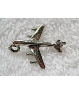 "Vintage Single Silver Charm Airplane Charm Bracelet 7/8"" Long Not Marked D1 - $18.32"