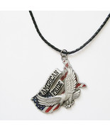 Men Leather Necklace Eagle American Pride Charm Necklace - $6.95