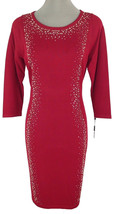 Calvin Klein Long Sleeve Embellished Sweater Dress Red Knit Small - $59.40