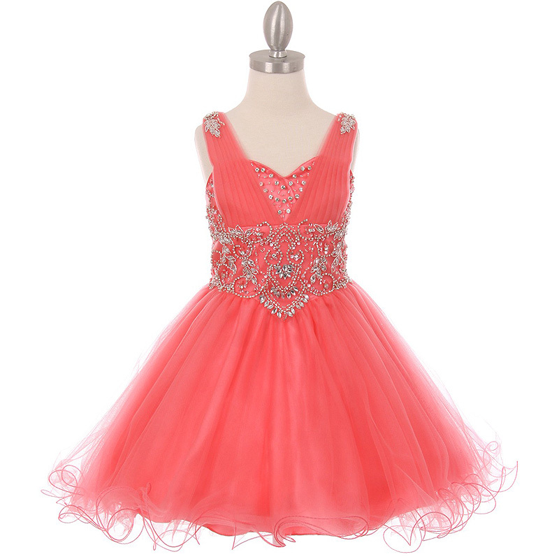 Primary image for Coral Rhinestone Bodice with Corset Back Style Formal Flower Girl Dress