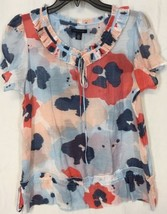 TOMMY HILFIGER Medium M Orange Blue  Semi Sheer... - $15.88