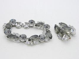 VTG JULIANA D&E Silver Tone Smoke Gray Rhinestone Five Link Bracelet Ear... - $222.75