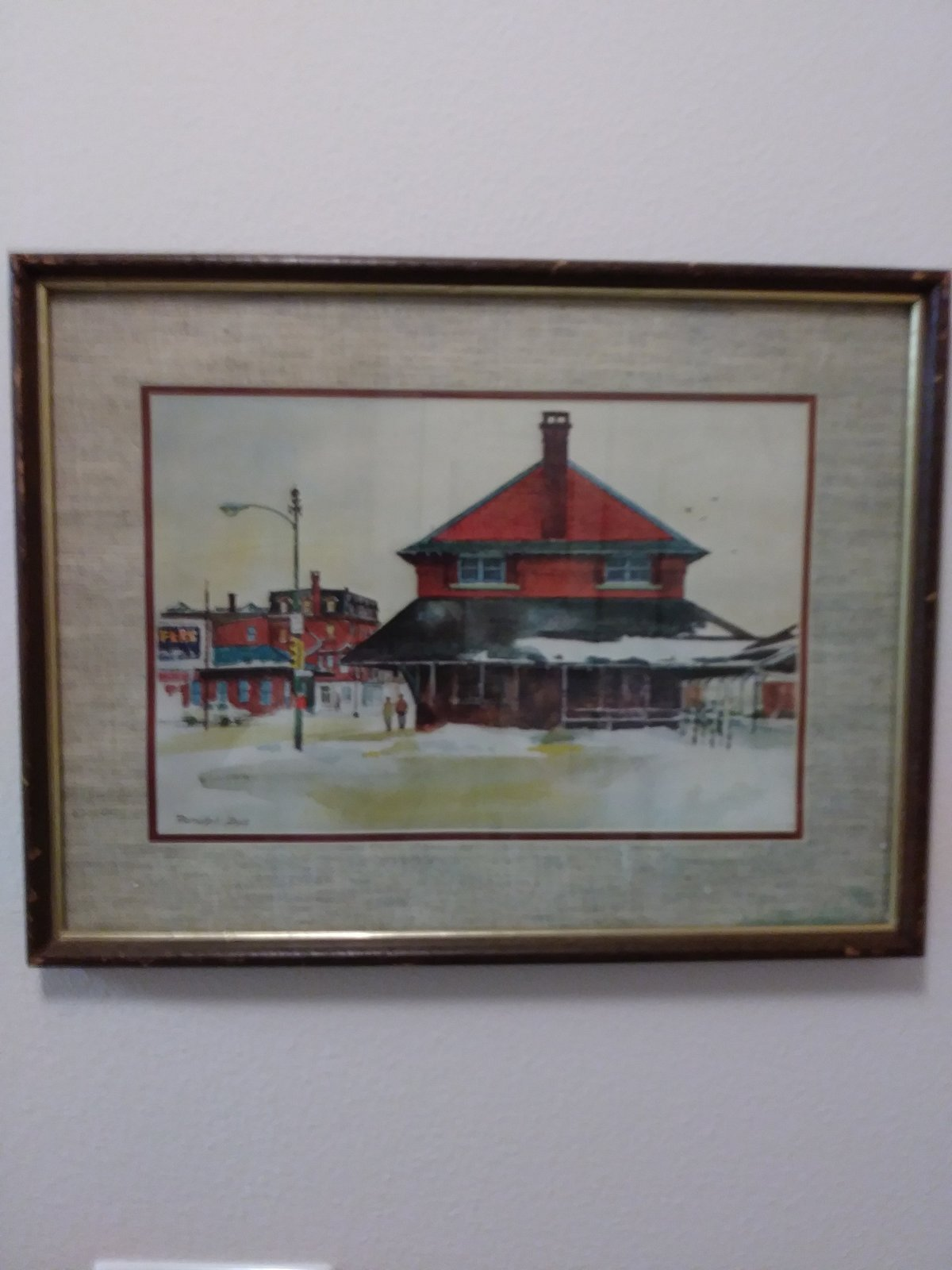 Ranulph Bye Railroad Station Vintage Watercolor Print  Matted & Framed Print Sig