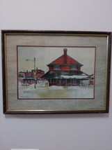 Ranulph Bye Railroad Station Vintage Watercolor Print  Matted & Framed Print Sig image 1