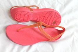 Crocs Women's Isabella T-Strap Sandals Pink Size 8 - $24.75