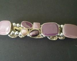 Vintage Bracelet Purple Stones and Silver -Stretch Costume Jewelry - $14.80