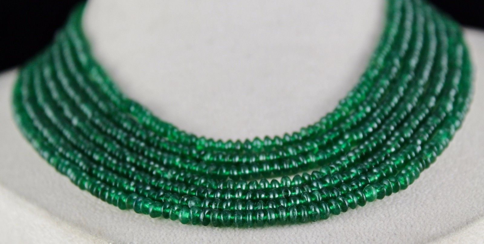 7 LINE EMERALD COLOR  NATURAL GREEN QUARTZ ROUND BEADS NECKLACE