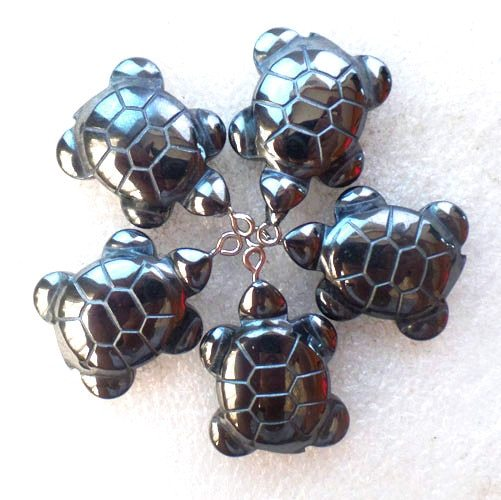 Primary image for (5 pieces/lot)  Wholesale Natural Carved Hematite Tortoise Pendant Bead 32x21x8m